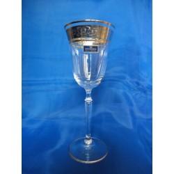 Skleničky na víno Angelina, Čiré sklo, zdobené zlatem a platinou, 250 ml, 6 ks