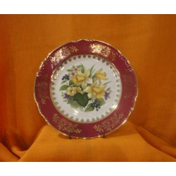 Talíř mělký, Roza 24cm, květy - purpurový