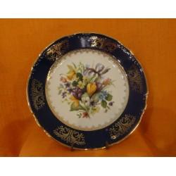 Talíř mělký, 24 cm, Roza, květy, kobalt