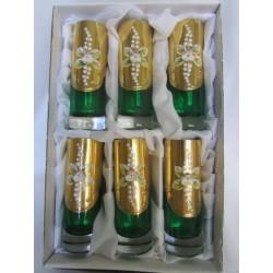 Skleničky na likér - vysoké, Smalt, 90 ml, 6 ks,Zelené