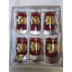Skleničky na likér - nízké, Smalt, 90 ml, 6 ks, červené