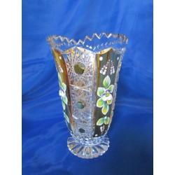 Váza, Křišťálové sklo zdobené zlatem, 15 cm