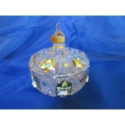 Cukřenka s víčkem, sklo zdobené zlatem, 12 cm