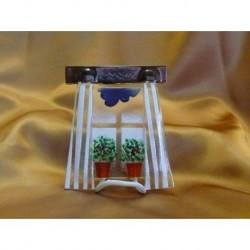 Okénko záclonka s květináčkem, 11 cm
